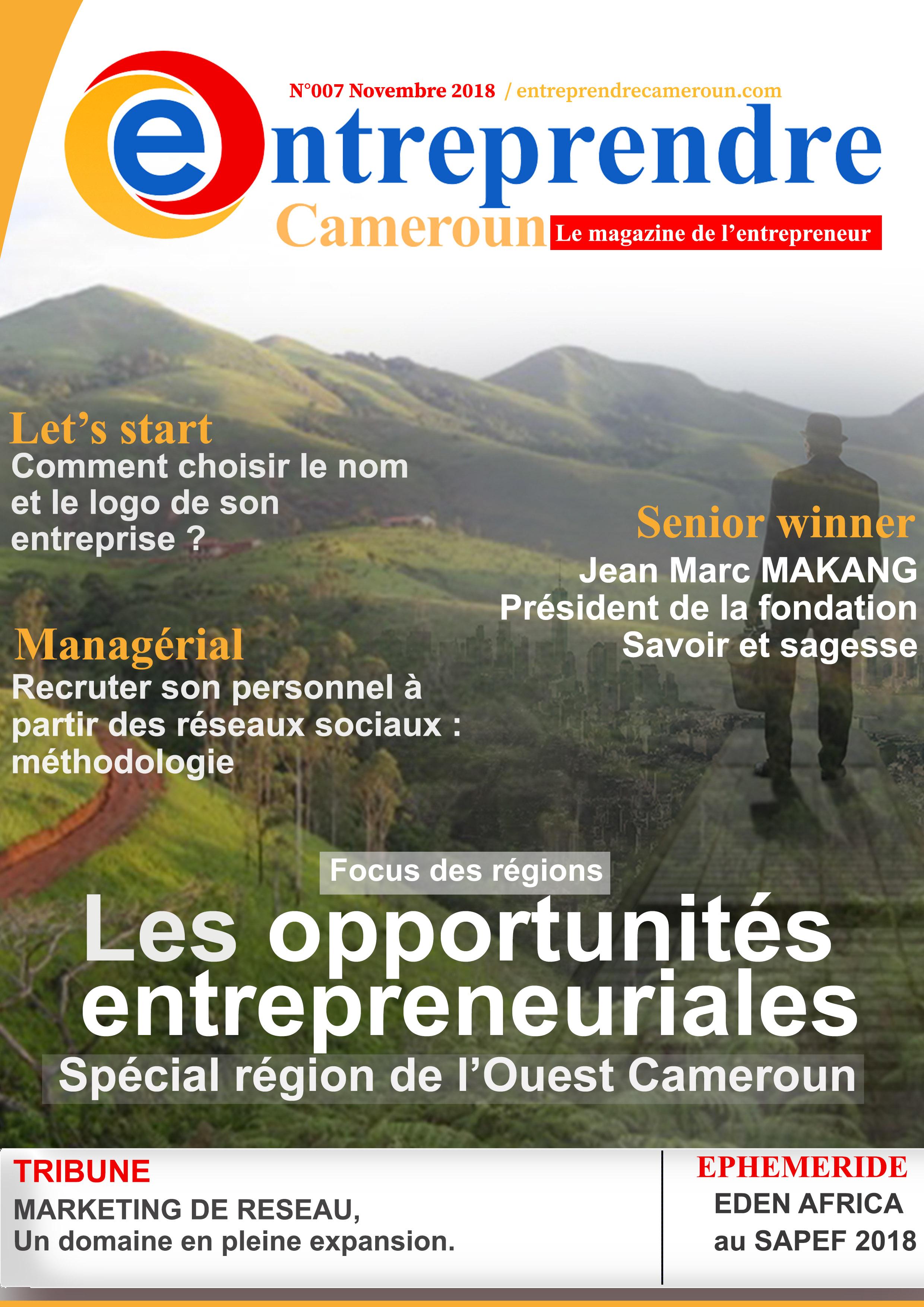 Les opportunités entrepreneuriales : spécial région de l'ouest Cameroun